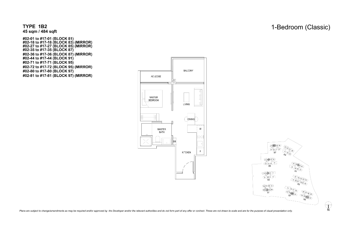 The Florences Residences 1 bedroom Floor plan