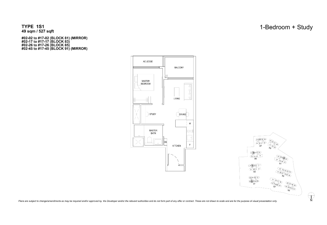 The Florences Residences 1 +study bedroom Floor plan