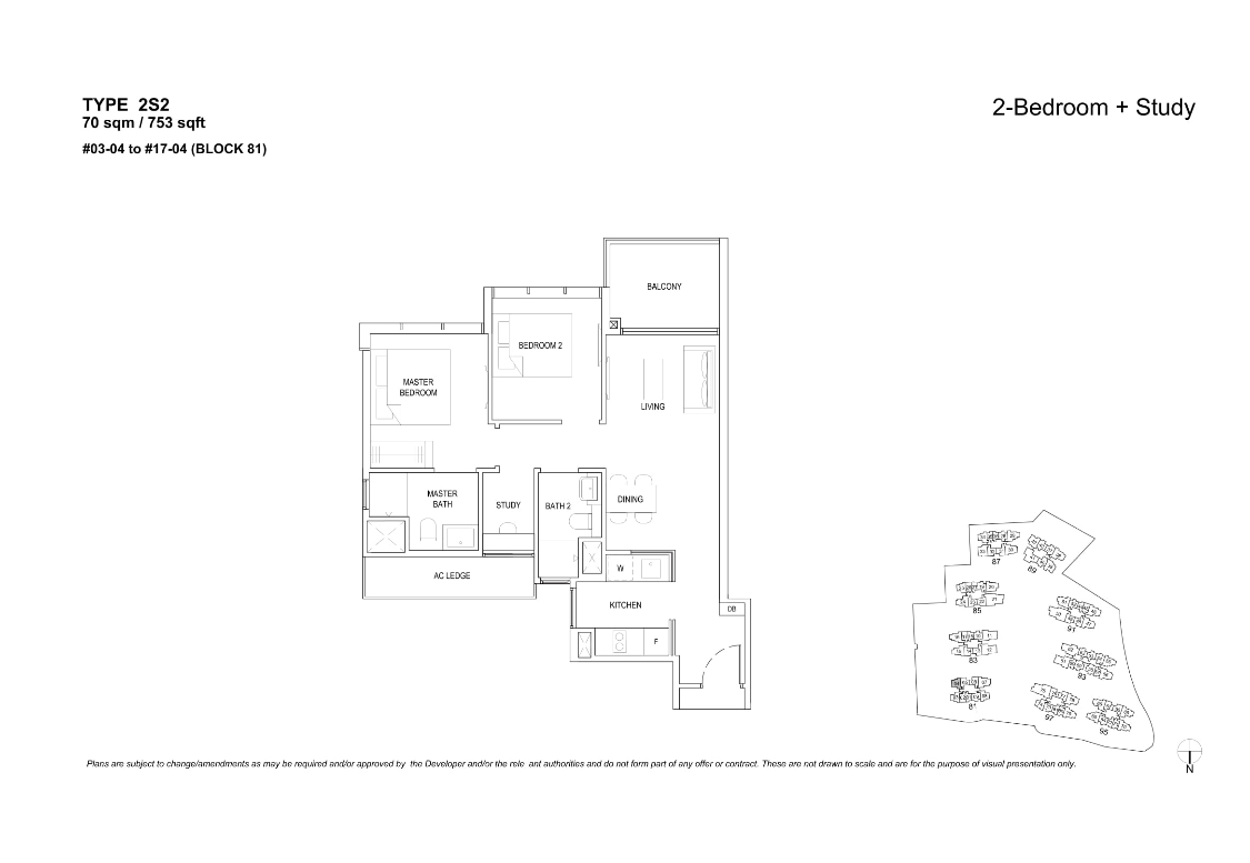 The Florences Residences 2+study bedroom Floor plan