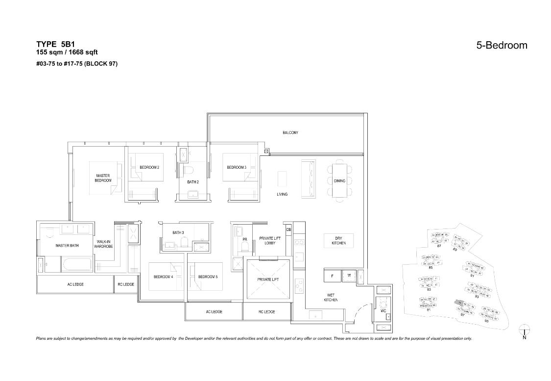 The Florences Residences 5 bedroom Floor plan